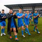 Leinster players, from left, Harry Byrne, Andrew Porter, Ciarán Frawley, Robbie Henshaw, Rob Kearney, James Ryan and Caelan Doris following the Heineken Champions Cup Pool 1 Round 6 win over Benetton at the Stadio Comunale di Monigo in Treviso, Italy. Photo: Ramsey Cardy/Sportsfile