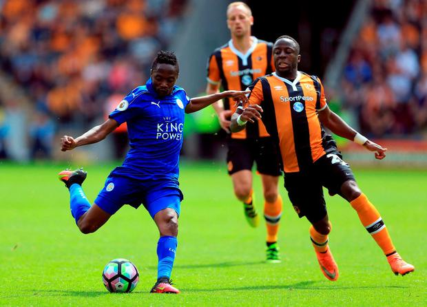 Leicester City's Ahmed Musa shoots during the Premier League match at the KCOM Stadium. Photo: Nigel French/PA Wire.