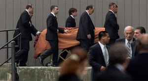 The coffin of containing the remains of James Gandolfini is escorted into Saint John the Divine Cathedral in New York