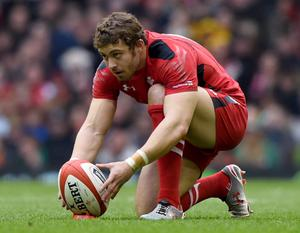 Rugby Union - Wales v Ireland - RBS Six Nations Championship 2015 - Millennium Stadium, Cardiff, Wales - 14/3/15 Wales'  Leigh Halfpenny prepares to take a penalty Reuters / Rebecca Naden Livepic EDITORIAL USE ONLY.
