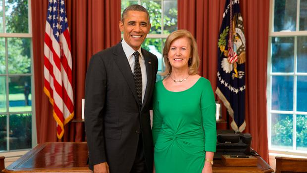 President Barack Obama participates in an Ambassador Credentialing ceremony with Her Excellency Anne Anderson, Ambassador of Ireland. Official White House Photo by Lawrence Jackson