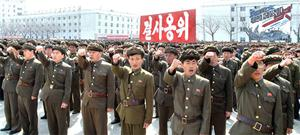 North Koreans attend a rally against the US and South Korea in Nampo, North Korea
