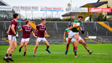 A handful: Aidan O'Shea powers through the tackle of Galway's Cillian McDaid – the Mayo full-forward caused huge problems for the Tribe's defence. Photo: Ramsey Cardy/Sportsfile
