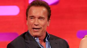 Arnold Schwarzenegger during filming of the Graham Norton Show