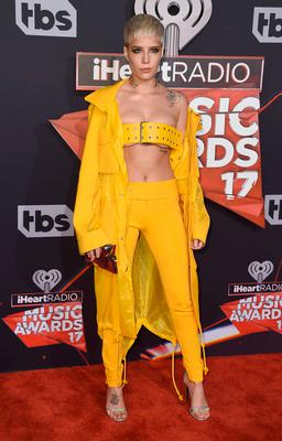 Halsey arrives at the iHeartRadio Music Awards at the Forum on Sunday, March 5, 2017, in Inglewood, Calif. (Photo by Jordan Strauss/Invision/AP)