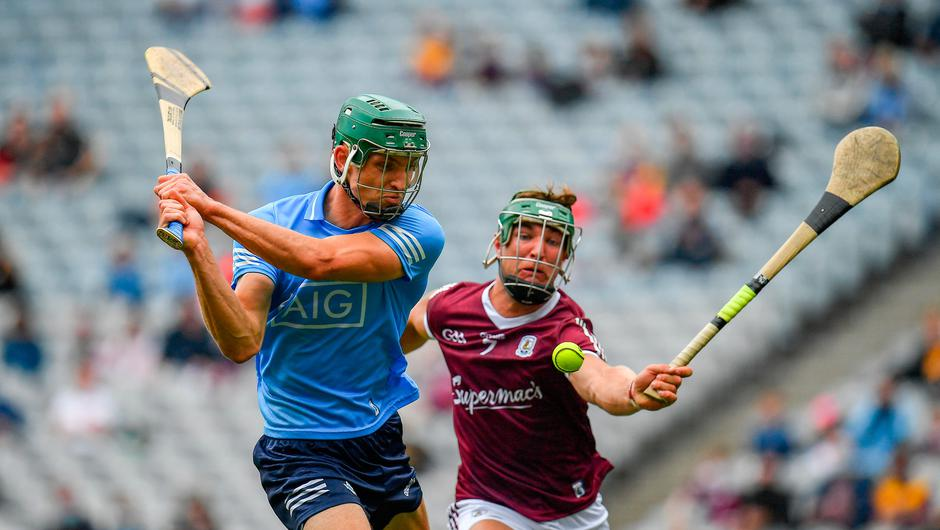 Chris Crummey shoots to score Dublin's first goal, despite pressure from Galway's Fintan Burke, during the Leinster Senior Hurling Championship semi-final at Croke Park in Dublin. Photo by Seb Daly/Sportsfile