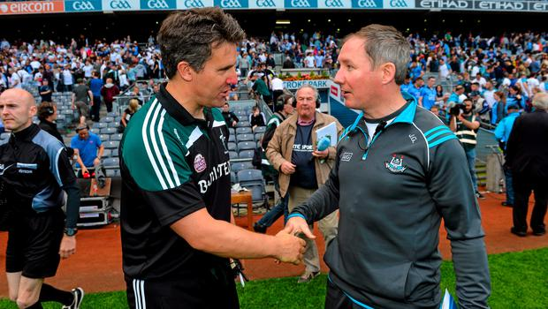 28 June 2015; Kildare manager Jason Ryan, left, shakes hands with Dublin manager Jim Gavin after the game. Leinster GAA Football Senior Championship, Semi-Final, Dublin v Kildare. Croke Park, Dublin. Picture credit: Ramsey Cardy / SPORTSFILE