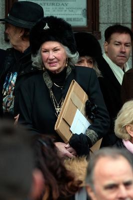 Philomena Lynott, mother of Phil Lynott at the funeral of former Pogues manager Frank Murray in St Paul's Church, Mount Argus. Photo: Tony Gavin