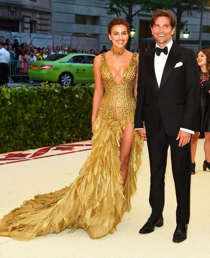 Irina Shayk and Bradley Cooper attend the Heavenly Bodies: Fashion & The Catholic Imagination Costume Institute Gala at The Metropolitan Museum of Art on May 7, 2018 in New York City.  (Photo by Jamie McCarthy/Getty Images)