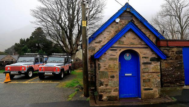Vehicles parked outside the Llanberis Mountain Rescue station in the Snowdonia mountain range in north Wales (Image: Peter Byrne/PA Wire)