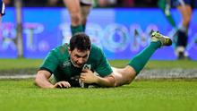 16 November 2014; Ireland's Felix Jones goes over for his second, and his side's fifth, try of the game. Guinness Series, Ireland v Georgia, Aviva Stadium, Lansdowne Road, Dublin. Picture credit: Pat Murphy / SPORTSFILE
