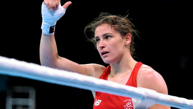 21 June 2015; Katie Taylor, Ireland, following her Women's Boxing Light 60kg Round of 16 bout victory over Denitsa Eliseeva, Bulgaria. 2015 European Games, Crystal Hall, Baku, Azerbaijan. Picture credit: Stephen McCarthy / SPORTSFILE