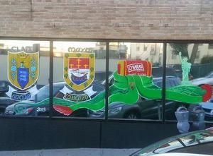 Brenda Nash is flying the county colours on her office windows in New York.