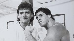 Vincent Hogan and Peter McNeeley in Las Vegas in 1995 - the Irish American was Mike Tyson's first opponent after the controversial heavyweight was released from jail