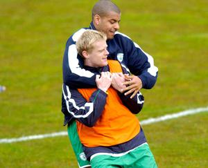 Stephen Reid and Damien Duff. Photo: Damien Eagers / Sportsfile