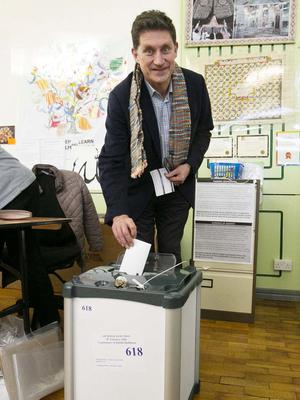 Green Party leader Eamon Ryan at the polling station. Photo: Sam Boal/Rollingnews.ie