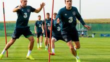 Ireland's Darron Gibson and John O'Shea are put through their paces during squad training yesterday before flying out to Georgia. Paul Mohan / SPORTSFILE