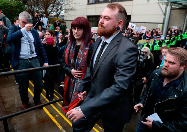 Mark Meechan leaves Airdrie Sheriff Court where he was fined £800 for an offence under the Communications Act for posting a YouTube video of a dog giving Nazi salutes. Andrew Milligan/PA Wire