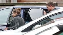25/11/14 Amy Huberman pictured leaving Holles Street Maternity Hospital this morning with her husband, Brian O'Driscoll and theirnew son, Billy who was born there last week