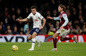 Tottenham Hotspur's Troy Parrott in action with Burnley's Jeff Hendrick. Photo: Paul Childs/Action Images via Reuters