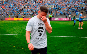 Philip McMahon wears a t shirt remembering his dad