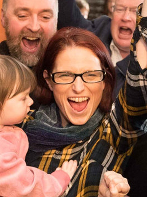 Violet Anne Wynne (SF) celebrates with her family and supporters after being elected at the Co. Clare Count. Photo: Eamon Ward