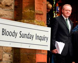 Martin McGuinness outside the Guildhall in Co Derry after giving evidence to the Saville Inquiry, into the Bloody Sunday tribunal. Photo: Paul Faith/PA Wire