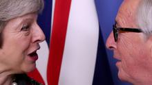 British Prime Minister Theresa May and European Commission President Jean-Claude Juncker. Photo: REUTERS