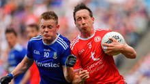 12 August 2018; Colm Cavanagh of Tyrone shoulders Ryan McAnespie of Monaghan during the GAA Football All-Ireland Senior Championship semi-final match between Monaghan and Tyrone at Croke Park in Dublin. Photo by Brendan Moran/Sportsfile