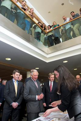 Prince Charles, Dr. Peter Heffernan, CEO Marine Institute, and  An Taoiseach Enda Kenny TD and while Dr. Margaret Rae, Marine Institute explains the marine bio discovery research. Photo: Andrews Downes XPOSURE.