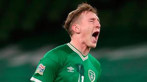 Republic of Ireland's Ronan Curtis rues a missed chance during the UEFA Nations League match at the Aviva Stadium. Photo: Brian Lawless/PA Wire.