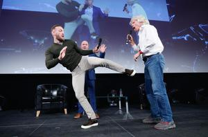 Conor McGregor with Richard Branson on the main stage of the Pendulum Summit at the Convention Centre in Dublin yesterday. Photo: Conor McCabe