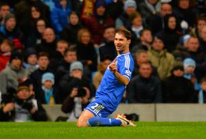 Branislav Ivanovic of Chelsea celebrates scoring their first goal during the Barclays Premier League match between Manchester City and Chelsea