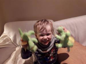 Jamie pictured with his dinosaur teddies, which he got to keep after escaping from the toy machine