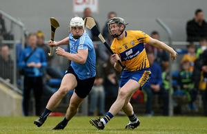 TOUGH PLACE TO GO: Dublin's Liam Rushe takes on Clare's Jamie Shanahan during their Allianz Hurling League Division 1 relegation play-off at Cusack Park in Ennis, back in April 2017. Photo: Diarmuid Greene/Sportsfile
