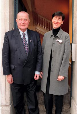 Denis Foley with his daughter Norma at the Moriarty Tribunal in Dublin Castle in 2000.