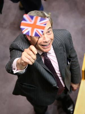 Nigel Farage in the parliament chamber at the European Parliament in Brussels, Belgium. Photo: Yui Mok/PA Wire