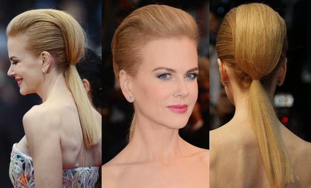 Nicole's sleek ponytail with a huge quiff caught everyone's attention.