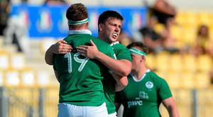 Sean McNulty and Jack Dwan, 19, Ireland, celebrate after the game. World Rugby U20 Championship, Pool C, Ireland v Argentina, Parma, Italy