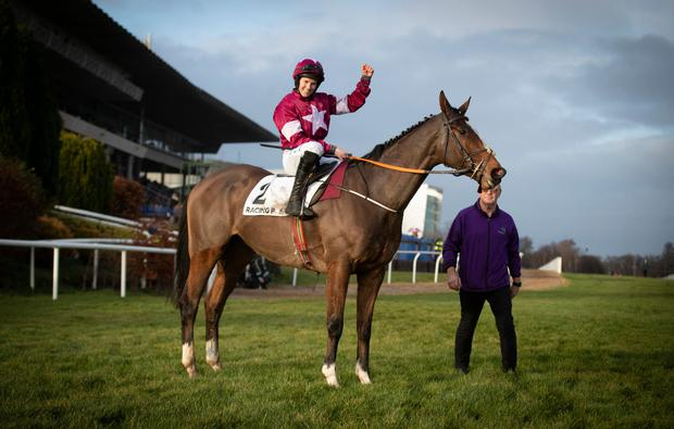 SUCCESS: Rachael Blackmore celebrates her Grade One success on Notebook at Leopardstown. Photo: Patrick McCann/Racing Post