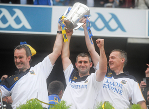 Tipperary boss Liam Sheedy with assistants Michael Ryan (L) and Eamon O'Shea (R). Photo: David Maher / Sportsfile
