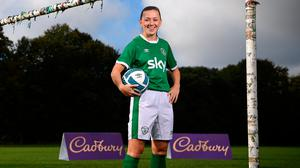 Katie McCabe is pictured visiting her old club Raheny United FC whose senior womens side will be the first of many grassroots womens teams around Ireland to receive funding from Cadbury in a bid to boost participation among women. Photo: Stephen McCarthy/Sportsfile