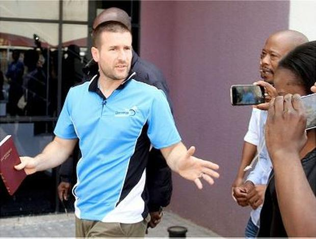 Barred: Controversial US Pastor Steven Anderson. reacts as he leaves the Botswana Department of immigration after being issued a deportation order by Botswana authorities, on September 20, 2016, in Gaborone.  Photo: STRINGER/AFP/Getty Images