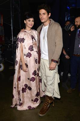 """LOS ANGELES, CA - JANUARY 27:  Recording artists Katy Perry (L) and John Mayer pose backstage at """"The Night That Changed America: A GRAMMY Salute To The Beatles"""" at the Los Angeles Convention Center on January 27, 2014 in Los Angeles, California.  (Photo by Larry Busacca/Getty Images for NARAS)"""