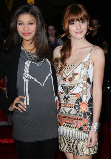 """Zendaya (L) and Bella Thorne attend the premiere of Walt Disney Pictures' """"John Carter"""" at Regal Cinemas L.A. Live on February 22, 2012 in Los Angeles, California.  (Photo by David Livingston/Getty Images)"""