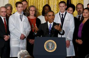 U.S. President Barack Obama speaks about the government's Ebola response from the East Room of the White House in Washington on Wednesday (REUTERS/Larry Downing)