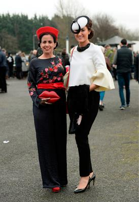 Triona Crosee, left, and Hanna Crosse at Winter Ladies Day, Naas Racecourse. Picture: Caroline Quinn