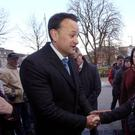 Katie Woods from Clare who lives in Galway speaking to Taoiseach Leo Varadkar during his walk about in Galway city. Photo: Hany Marzouk