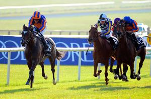 Peaceful, ridden by Seamie Heffernan, wins the Tattersalls Irish 1,000 Guineas at the Curragh yesterday. Photo: PA Wire