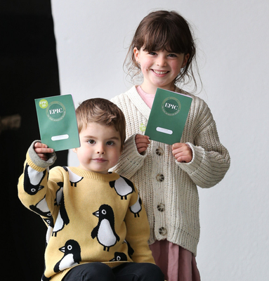 Excited: Saoirse (5) and Cuan Scott (3), from Dublin, at the museum's reopening. Photo: Photocall Ireland